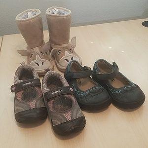 Merrell 9 keen Mary Jane shoes Muk luks 8 boots